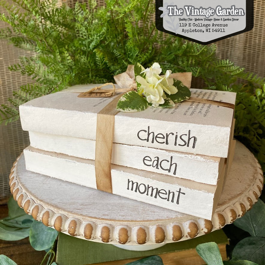 Cherish Each Moment | Handstamped Book Stack