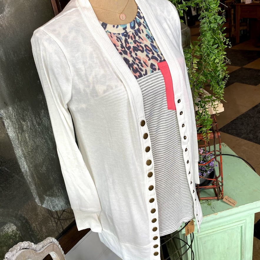 Ivory Snap Button Cardigan {SALE}