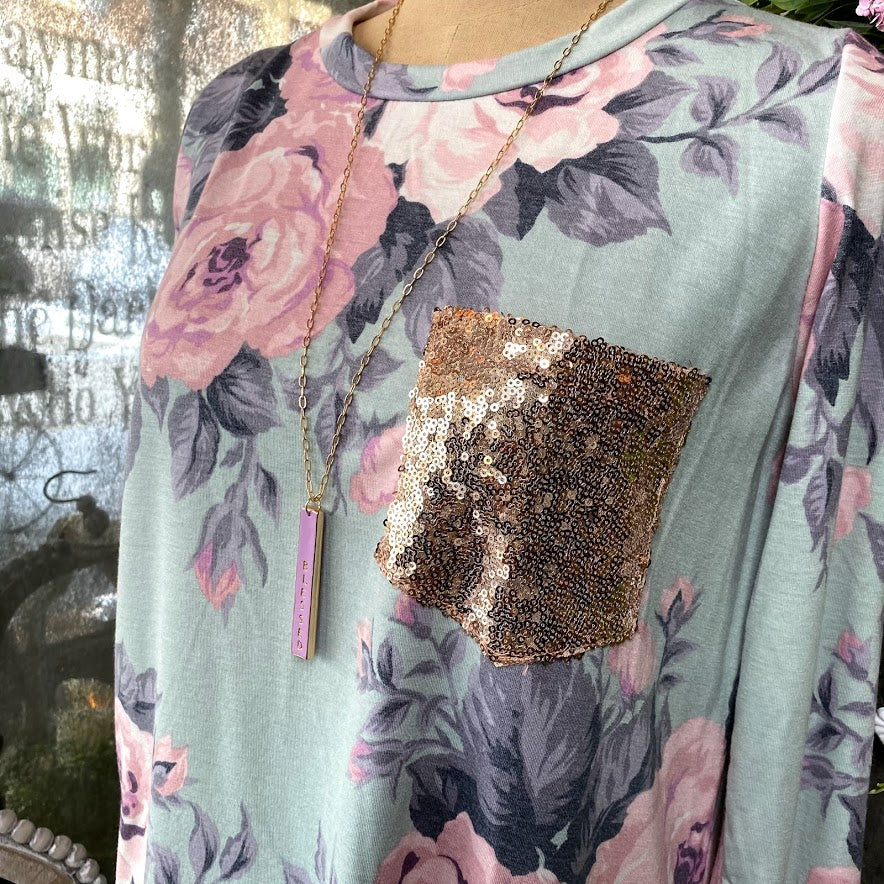 Sequins Pocket Floral Top {SALE}