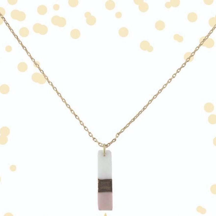 Colorblock Rectangle Pink Necklace | Simply Chic | 16""