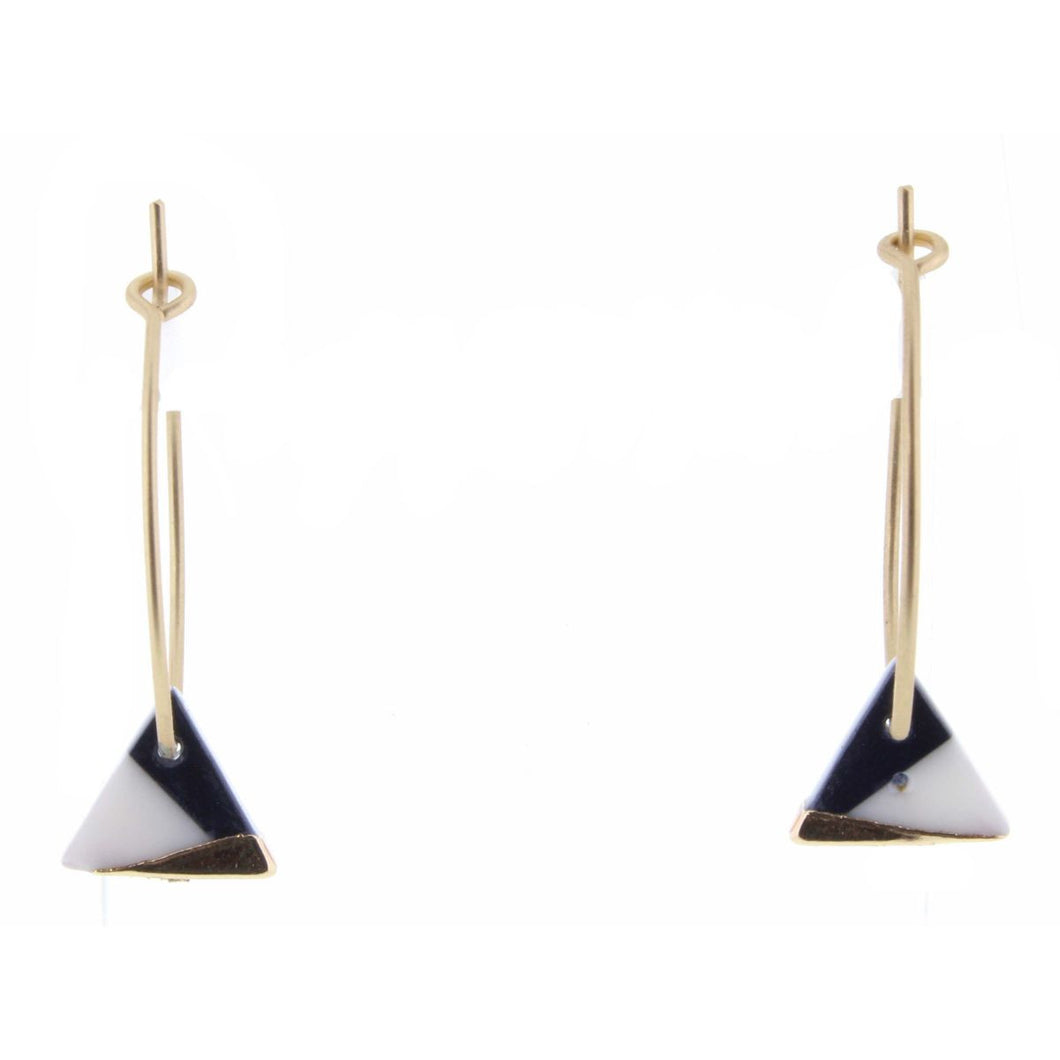 Colorblock Navy Triangle Earrings | Simply Chic