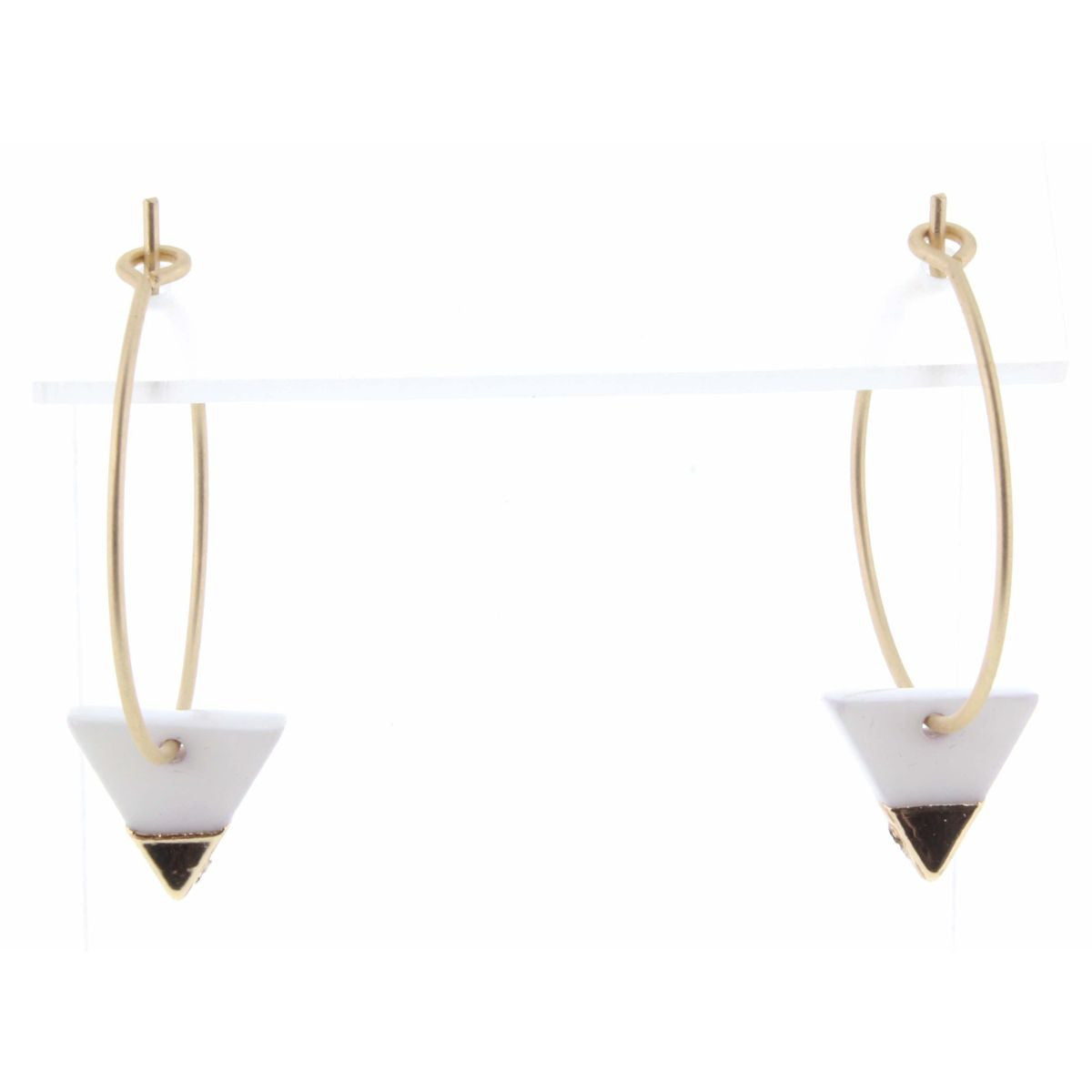 Colorblock White Triangle Earrings | Simply Chic