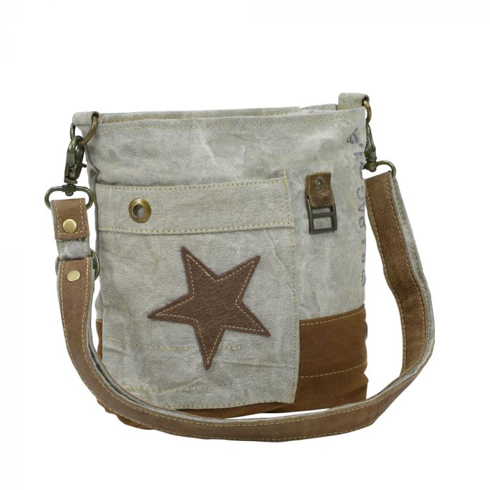 Leather Star, Canvas Shoulder Bag