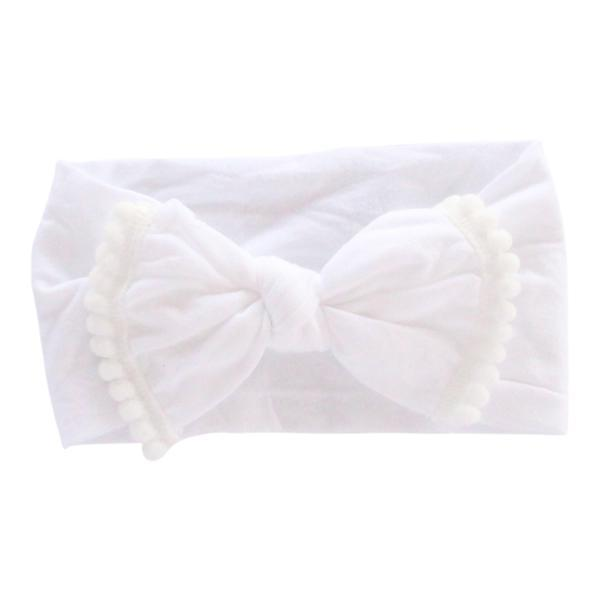 White Pom Pom Nylon Headband