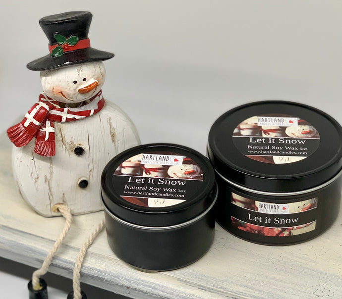 Holiday Black Tin Soy Candles 3oz