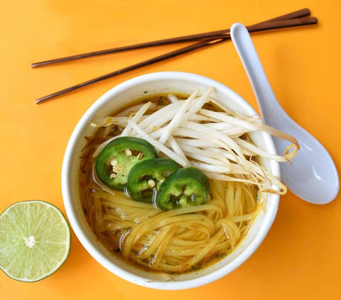 Naughty Noah's Vietnamese Pho soup with added ingredients, ready to eat in minutes