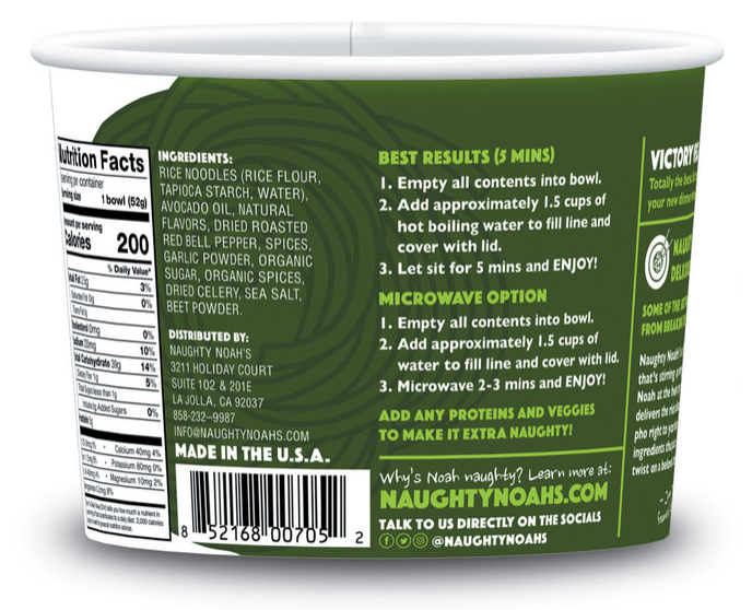 Naughty Noah's Victory Veg - Packaging Information