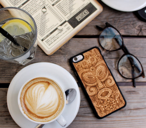 Handcraft Carved Wood Phone Case