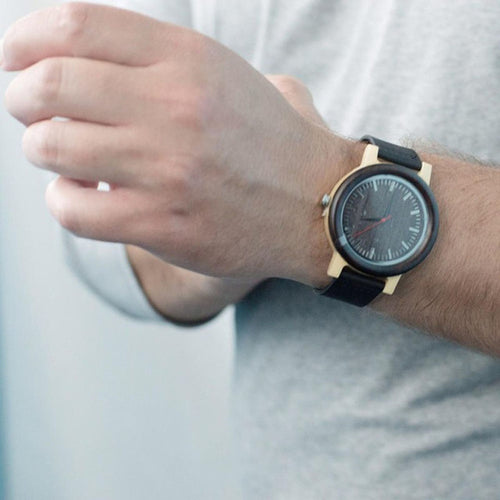 M13 Ebony Wooden Analog Wristwatch Black