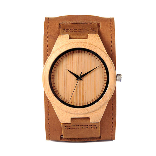 Men Watch Natural Bamboo Japanese Quartz