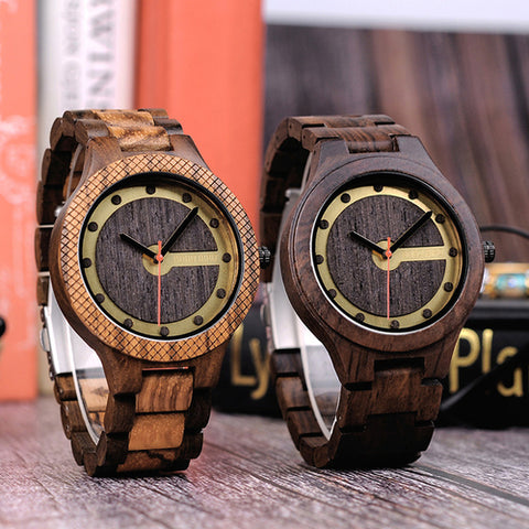 Q09 Mens Wooden Watch Simple Quartz