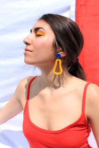 Yellow and Blue Clay Earrings