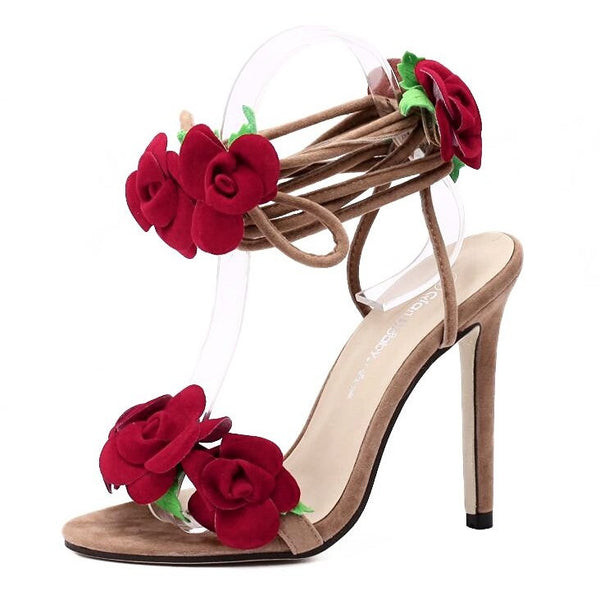Red Flower Lace Up Heels - myfunkysole