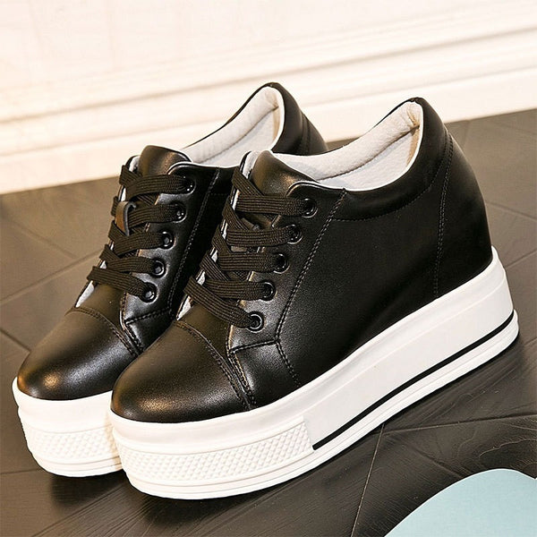 women genuine leather casual  platform shoes - myfunkysole