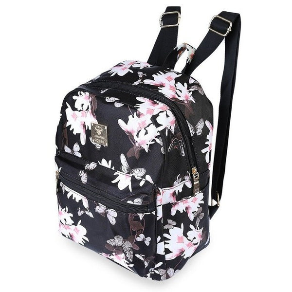 Floral Printing Black backpack - myfunkysole