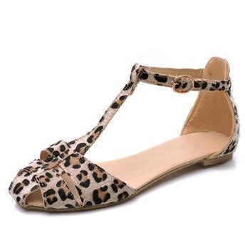 Leopard Flat Sandals Ankle T-Strap - myfunkysole