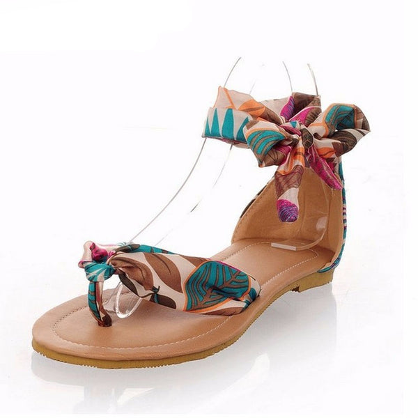 T strap colorful Beach flat - myfunkysole