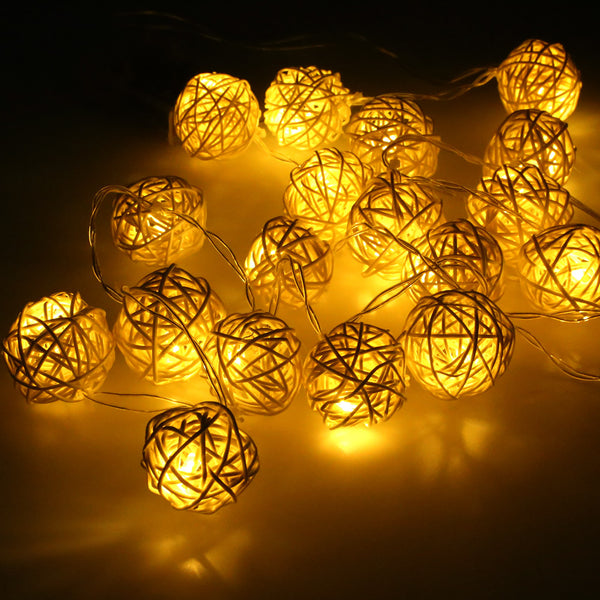Rattan Balls String Lights - myfunkysole