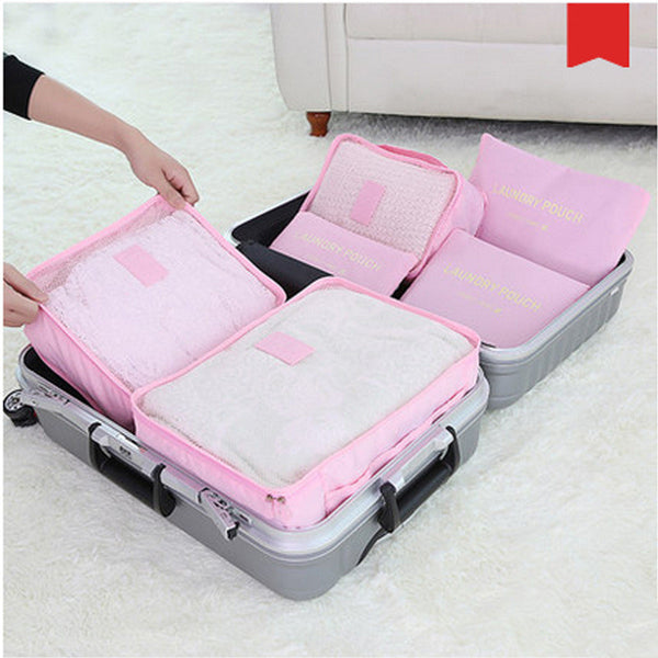 New 6pcs/set Women Travel Storage Bag High Capacity Luggage Clothes Tidy Organizer Pouch Portable Waterproof Storage Case - myfunkysole