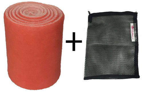 Pinky Floss Aquarium Filter 12 inch Wide x 10 ft bundled with 1 Mesh Bag