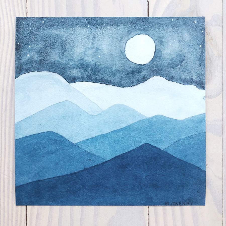 Blue Ridge Blues-Watercolor Print - Michelle Owenby Design