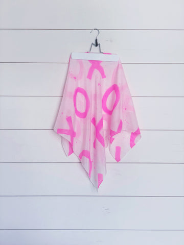 Hand-Painted Silk Scarf  - Magenta Paint Splatter X's + O's - Michelle Owenby Design