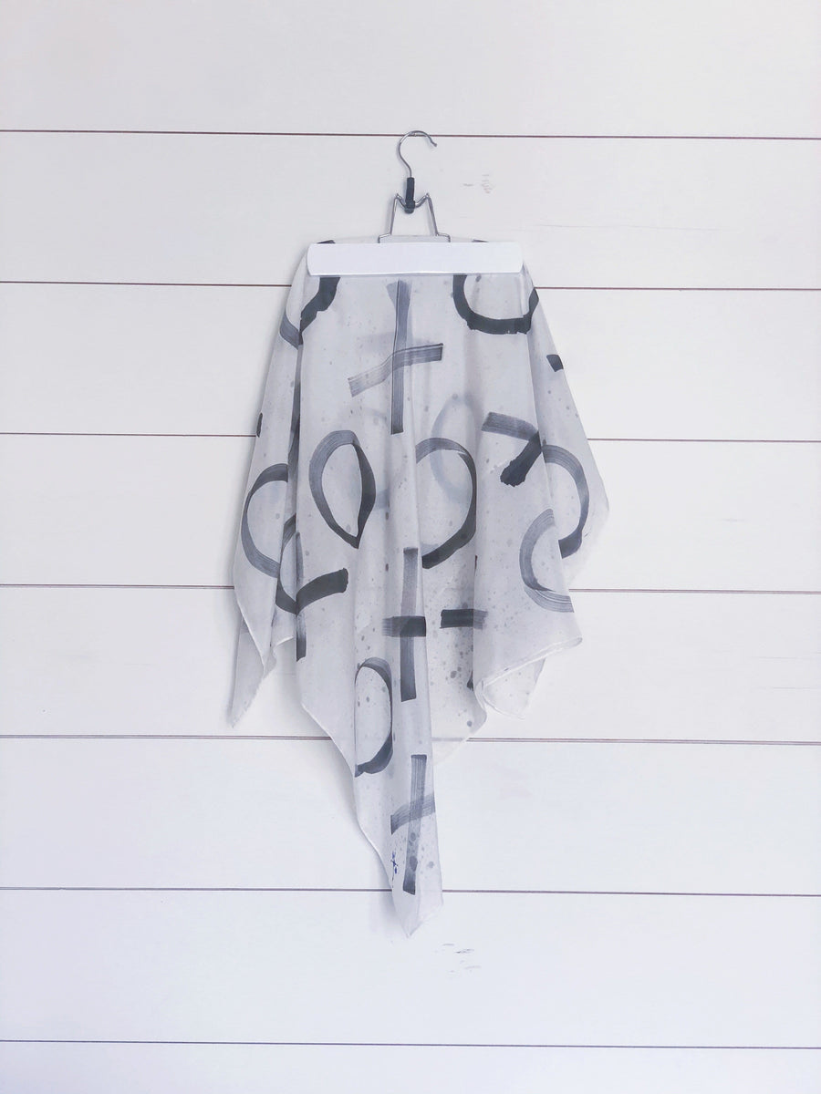 Hand-Painted Silk Scarf - Black Paint Splatter X's + O's - Michelle Owenby Design