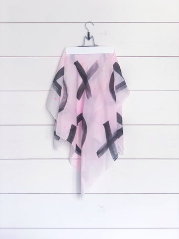 Hand-Painted Silk Scarf - Black + Magenta Paint Splatter X's + O's - Michelle Owenby Design