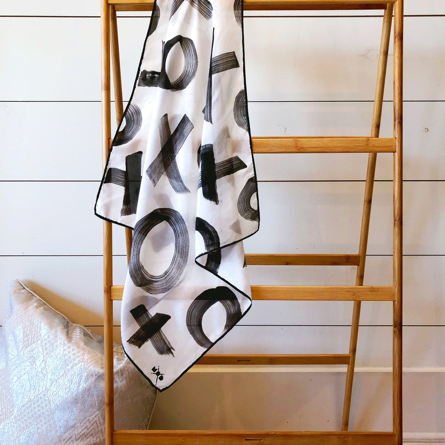 Hand-Painted Silk Scarf - B/W X's + O's
