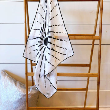 Hand-Painted Silk Scarf - B/W Starburst