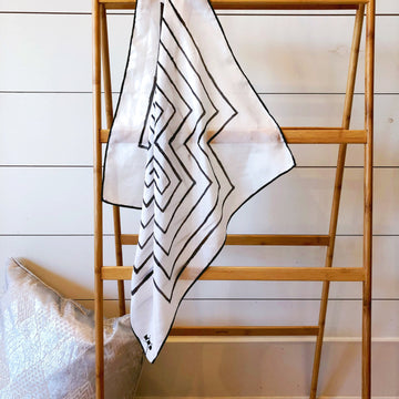Hand-Painted Silk Scarf - B/W Cross - Michelle Owenby Design