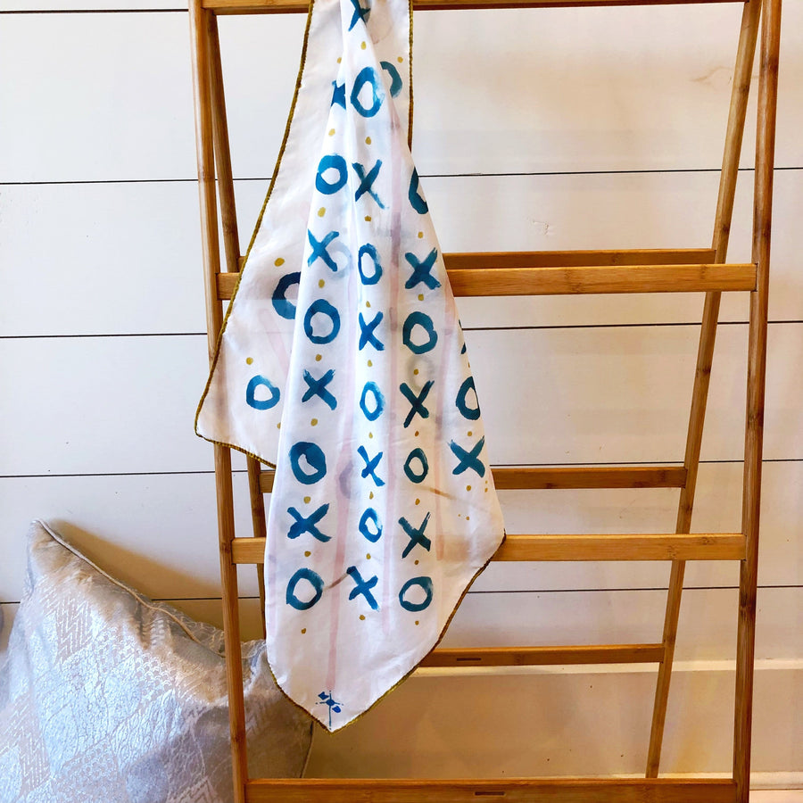 Hand-Painted Silk Scarf - Teal & Blush X's + O's