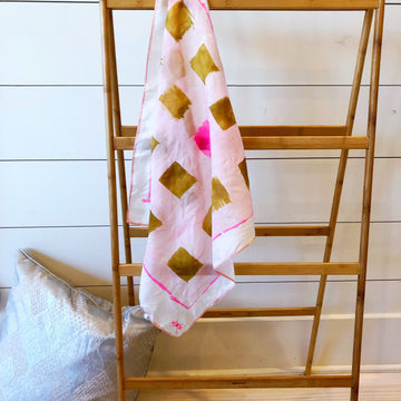 Hand-Painted Silk Scarf - Blush & Brass Unruly - Michelle Owenby Design