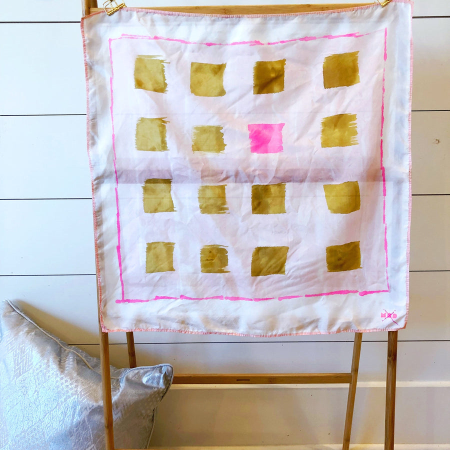 Hand-Painted Silk Scarf - Blush & Brass Unruly