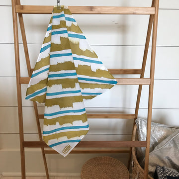 Hand-Painted Scarf - Turquoise & Brass Stripe - Michelle Owenby Design