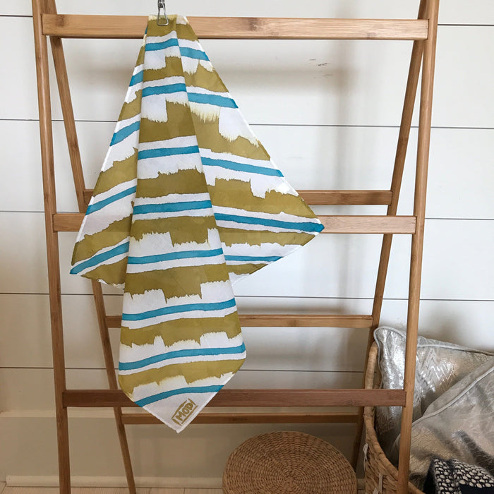 Hand-Painted Scarf - Turquoise & Brass Stripe