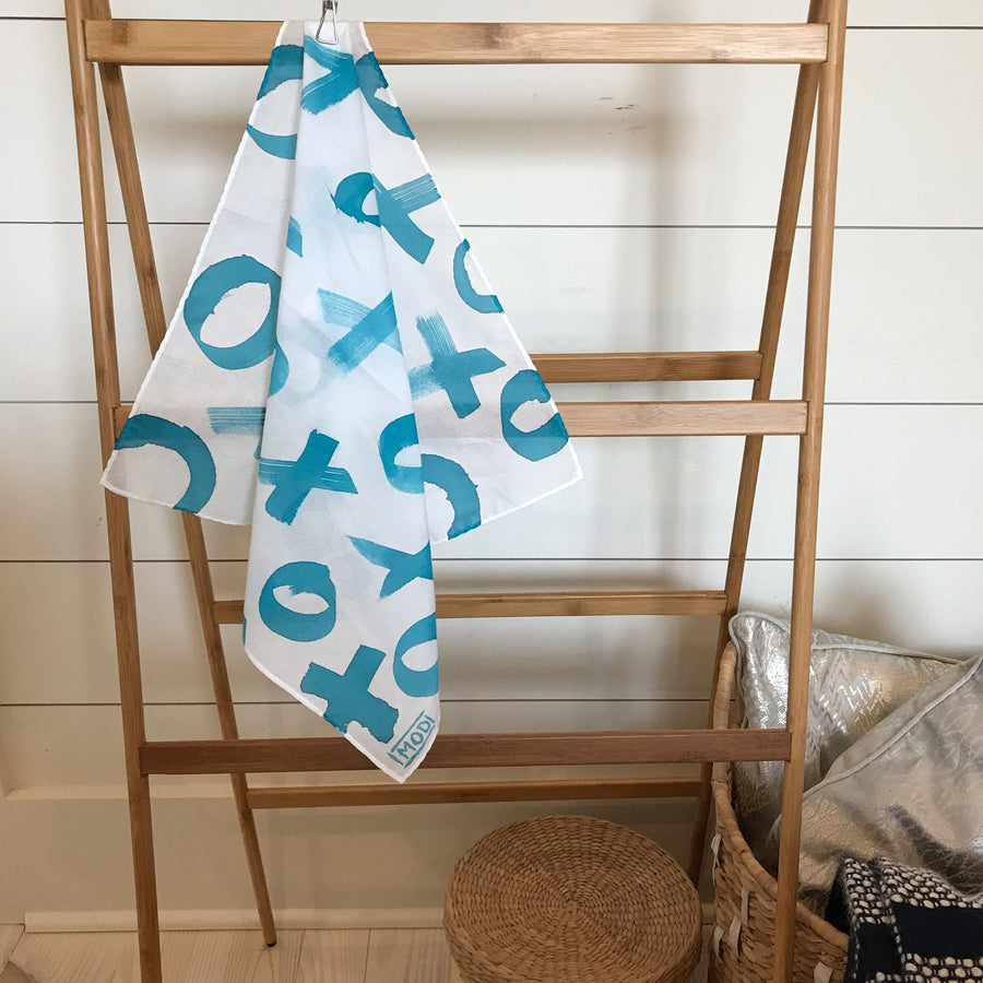 Hand-Painted Scarf - Turquoise X & O's