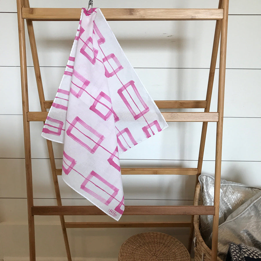 Hand-Painted Scarf - Magenta Windows