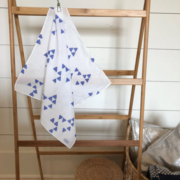 Hand-Painted Scarf - Periwinkle Triangles - Michelle Owenby Design