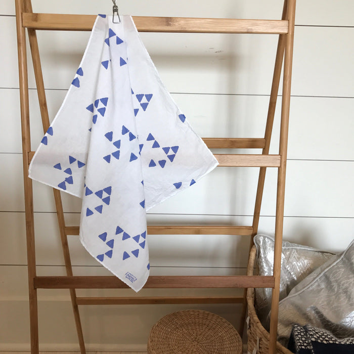 Hand-Painted Scarf - Periwinkle Triangles
