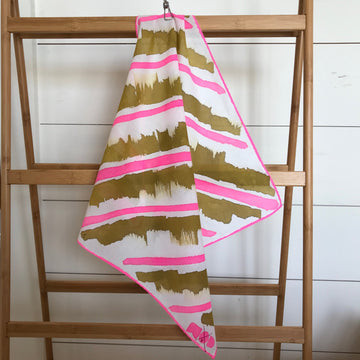 Hand-Painted Scarf - Hot Fuschia + Brass Stripe #2 - Michelle Owenby Design