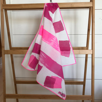 Hand-Painted Scarf - Hot Fuschia & Magenta Blocking - Michelle Owenby Design