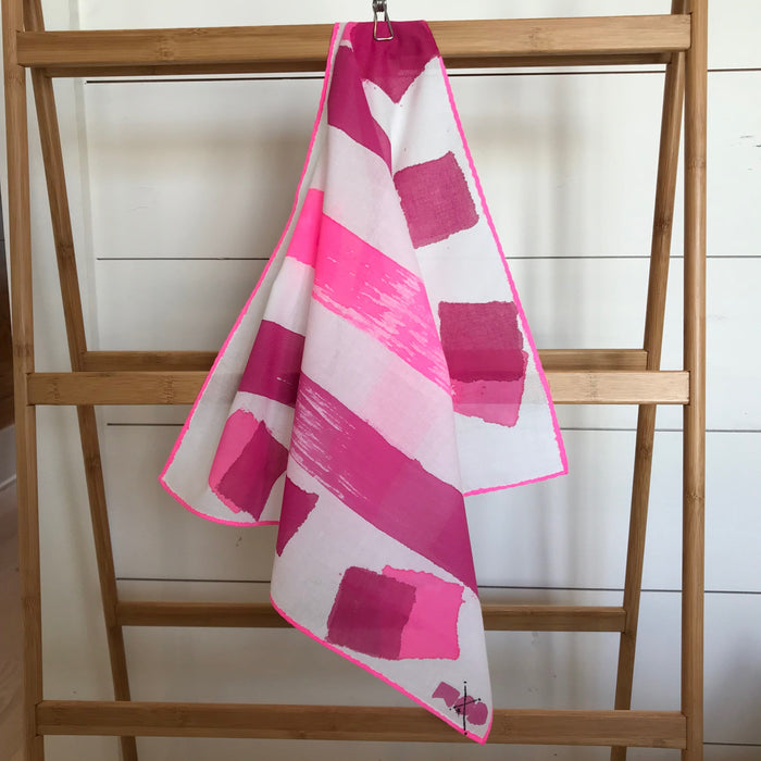 Hand-Painted Scarf - Hot Fuschia & Magenta Blocking