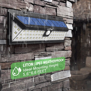 Litom Super Bright Solar Lights 54 LED Solar Power Outdoor Motion Sensor Light With LED on Both Side