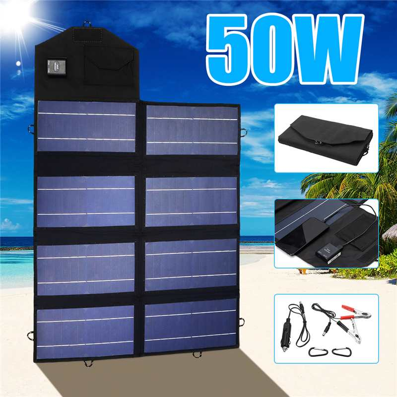 Portable 50W 12V Solar Charger with two USB outlets. Waterproof and Foldable!