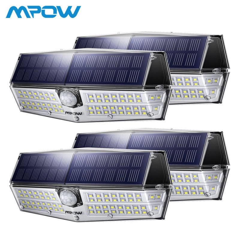 4 Pcs MPOW 66 LED Motion Sensor Solar Light 3 Lighting Modes Powerful IP66 Waterproof