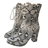 Faux Snake-Skin Lace Up Boots