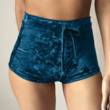 High-Waisted Velvet Shorts
