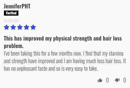 Review from JenniferPHT: This has improved my physical strength and hair loss problem.