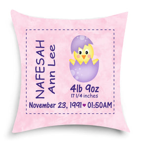 Birth Announcement Pillow - Keepsakes - Baby Room Decor